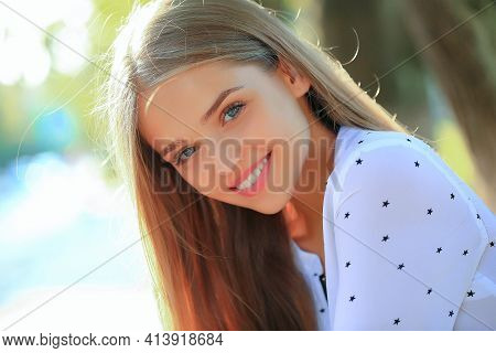Beauty Spa Woman With Perfect Skin Portrait. Beautiful Young Woman With Clean Perfect Skin