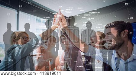 Network of connections against business people high fiving each other at office. global business and networking technology concept