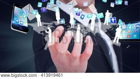 Composition of network of digital icons, people and smartphone over hand of businessman. global technology and digital interface concept digitally generated image.