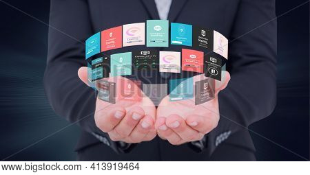 Composition of circle network of digital icons over hand of businessman. global technology and digital interface concept digitally generated image.