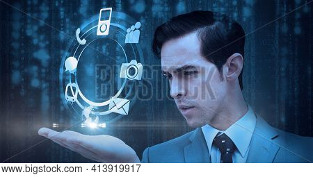 Composition of network of digital icons in circle over hand of businessman. global technology and digital interface concept digitally generated image.