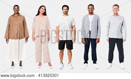 Diverse group of people wearing casual outfit for apparel ad