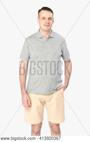 Man wearing basic gray polo shirt apparel front view