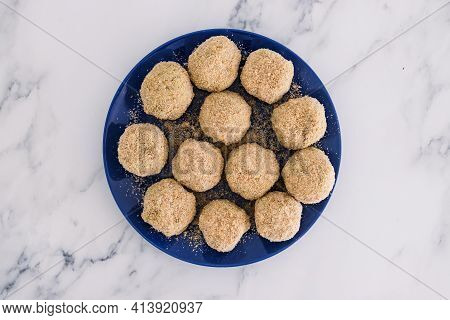 Vegan Arancini Risotto Balls About To Get Fried, Healthy Plant-based Food