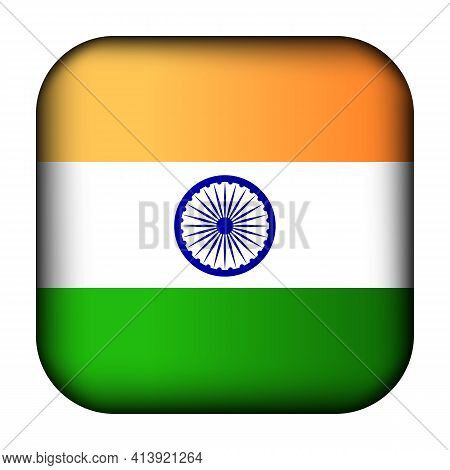 Glass Light Ball With Flag Of India. Squared Template Icon. Indian National Symbol. Glossy Realistic