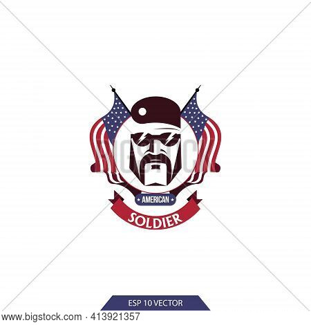 American Soldier Logo. Warrior On The Background Of American Flags. A Man In A Military Uniform. Ame