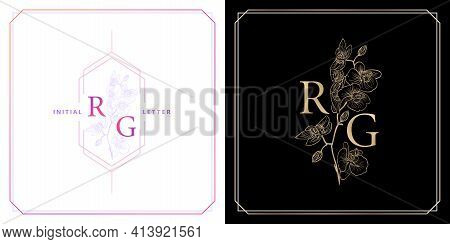 Rg Or Gr Monogram With Orchid Flowers Ornament, Initial Letter And Graphic Name With Golds Colors An