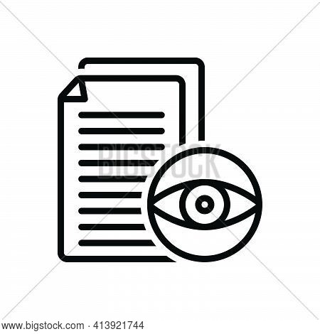 Black Line Icon For Visible Manifest Evident Eyesight Visibility Document