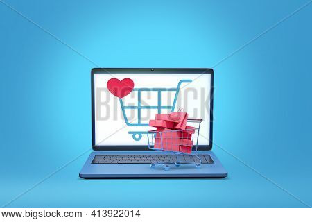 Laptop Computer With Online Shop Application Display  3d Illustration  ,concept Of Online Shopping A