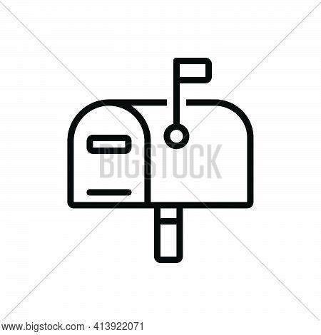 Black Line Icon For Postage Mailbox Letterbox Message Telegram Receiver