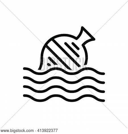 Black Line Icon For Float Ocean Garbage Disposable Eco-friendly Blow Drift