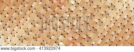 Wicker Basket Or Woven Basket Texture And Pattern, Bamboo Woven Textured, Detail Handcraft Bamboo We