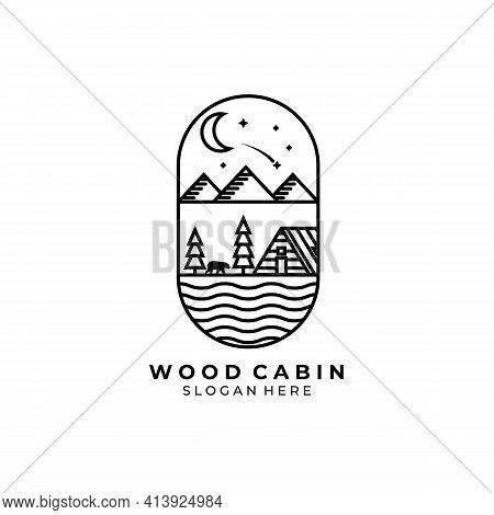 Cabin Line Art Logo Vector Illustration Design , Forest Cabin , Bear Logo