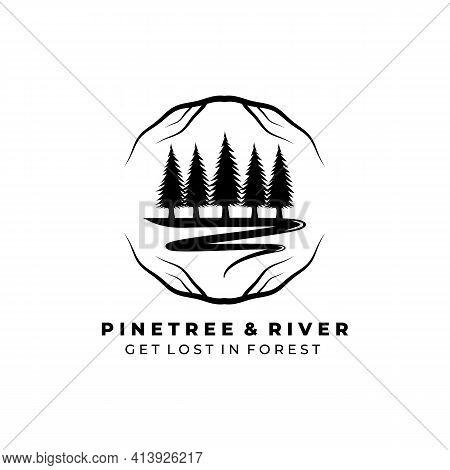 Pine Tree And River Logo Vector Illustration Design, River Tree