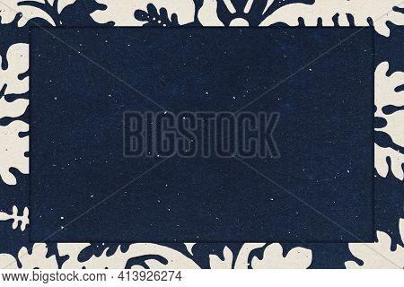 Vintage leafy frame indigo background remix artwork from William Morris