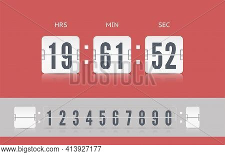 Coming Soon Web Page Design With Flip Time Counter. Vector Modern Ui Old Countdown Timer. White Scor
