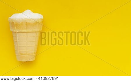 Waffle Cup Of Cream Ice Cream On Pastel Yellow Background, Copyspace.traditional Russian Ice-cream.