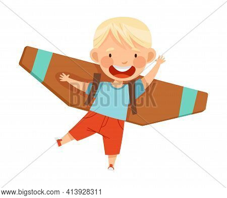 Cheerful Blond Boy With Improvised Fake Wings Flying And Playing Vector Illustration