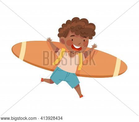 Playful African American Boy With Improvised Fake Wings Flying And Playing Vector Illustration
