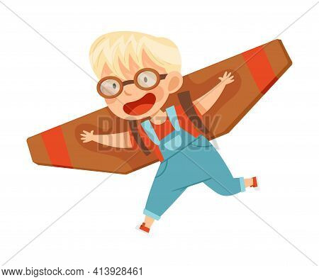 Smiling Boy In Goggles Flying And Piloting With Improvised Fake Aircraft Vector Illustration