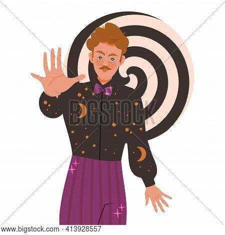 Man Hypnotist Practicing Hypnosis Focusing Attention Vector Illustration