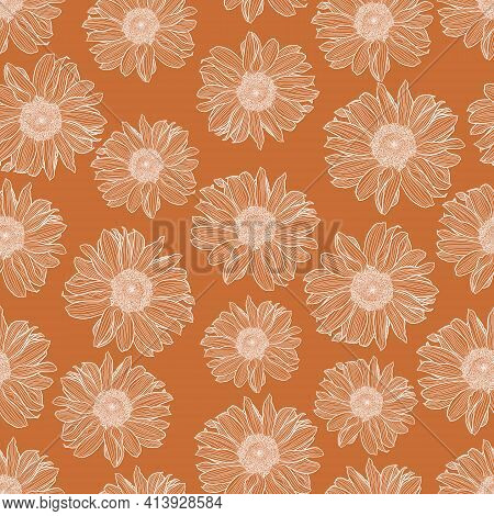 Seamless Pattern Of Chamomile White Outline On Terracotta Background. Decorative Print For Wallpaper