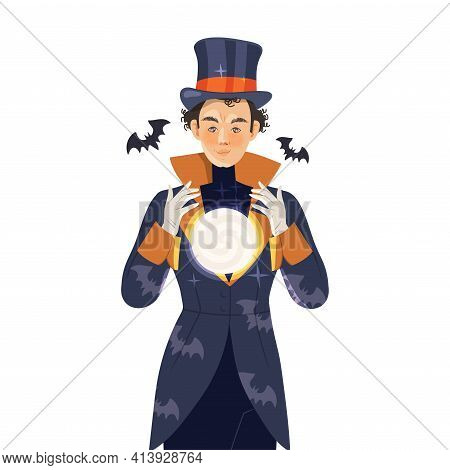 Man Psychic And Stage Magician In Top Hat Performing Trick Holding Crystal Ball Vector Illustration