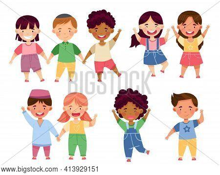 Multiethnic Children Holding Hands And Smiling Vector Set