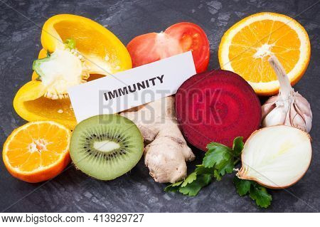 Inscription Immunity With Fresh Ripe Fruits And Vegetables. Source Natural Vitamins, Minerals And Di