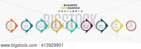 Business Infographics Template. Timeline With 9 Steps, Options And Marketing Icons .vector Linear In