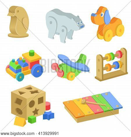 Children Wooden Toys Illustrations Set. Collection Of Toys Made Of Wood, Penguin, Bear, Dog, Train,