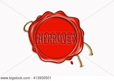 Red Wax Seal With Copy Space On A White Background. Icon Seal Wax Realistic Stamp With Rope And Lett