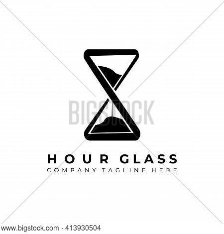 Hourglass Logo Vector Illustration Design, Simple Creative Hourglass Logo Symbol Icon Template Desig