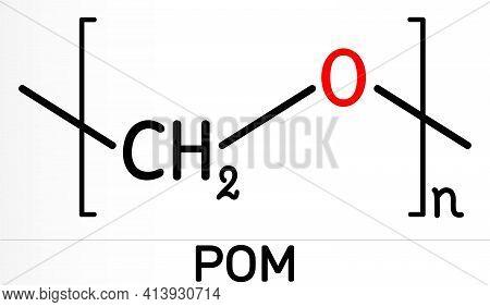 Polyoxymethylene, Pom, Acetal, Polyacetal, Polyformaldehyde Molecule. It Is Synthetic Polymer, Engin