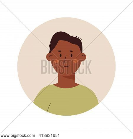 Black Skin Man Avatar Icon, Portrait Of A Young Man On Isolated White Background. Vector Illustratio