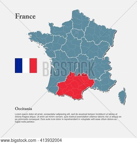 Vector Map Europe Country France, Region Occitania