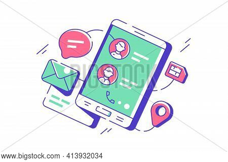 Modern Telephone Contacts In Mobile Phone Digital App. Concept Icon Of Device With Sim Card, Message