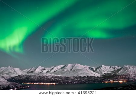 Beautiful Aurora above fjords near Skibotn Norway poster
