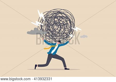 Stress Burden, Anxiety From Work Difficulty And Overload, Problem In Economic Crisis Or Pressure Fro