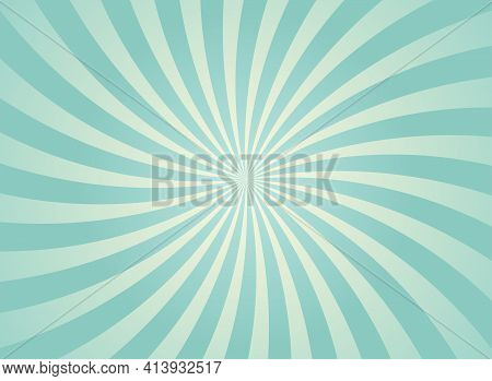 Sunlight Abstract Background. Blue Spiral Color Burst Background. Vector Illustration. Sun Beam Ray