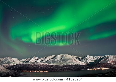 Northern Lights Over Fjords In Norway. Aurora above fjords near Skibotn Norway poster