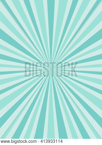 Sunlight Rays Background. Powder Blue Color Burst Background. Vector Sky Illustration. Sun Beam Ray