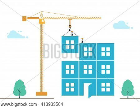 Illustration Of Construction Of Multi-storey Building. Tower Crane Lowers Block With Window