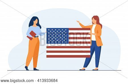 Two Women Holding Usa Flag. Star, Citizen, Union Flat Vector Illustration. Nationality And Country S