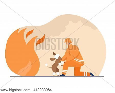Firefighter Saving Life Of Scared Poodle. Pet, Fire, Dog Flat Vector Illustration. Firefighting And