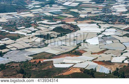 Aerial View Of Huge Greenhouse Farms Near City Dalat, Vietnam