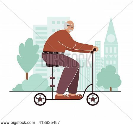 Old Man And Electric Seated Kick Scooter.