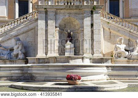 Rome, Italy - October 8,  2020: Capitoline Hill On Piazza Del Campidoglio Designed By Michelangelo,