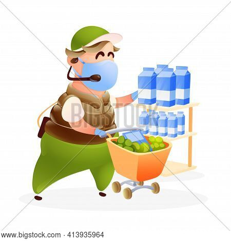 Shopper Man In A Company Uniform Picking An Order