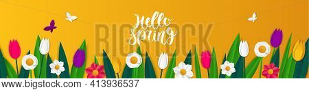 Spring Sale Banner With Paper With Tulips And Daffodils. Banner Perfect For Promotions, Magazines, A